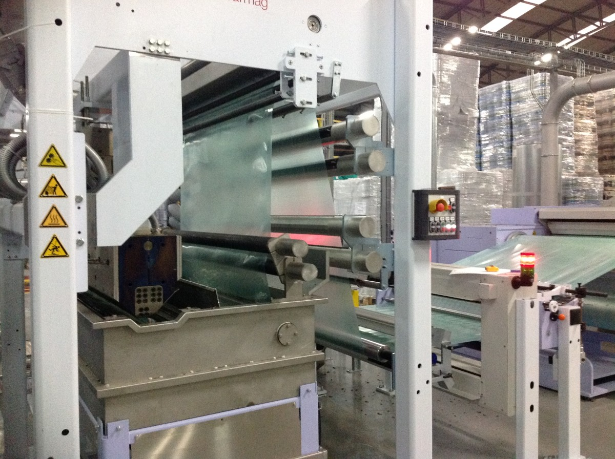 ABA coextrusion water quench + haul-off